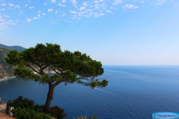 Ausblick von der Dachterrasse in Corniglia aufs Meer