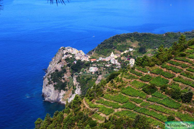 Cinque Terre wandern - Blick auf Corniglia