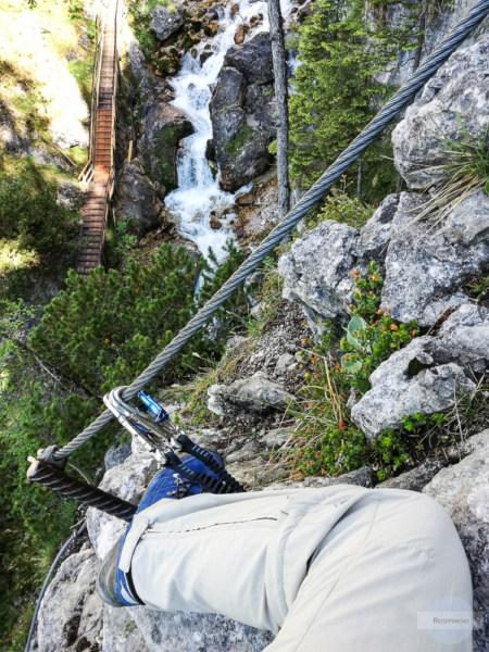 Blick vom Hias Klettersteig in die Silberkarklamm