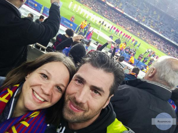 Beim Match vom FC Barcelona im Camp Nou