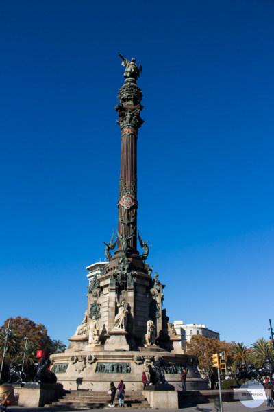Die Christoph Kolumbus Statue in Barcelona