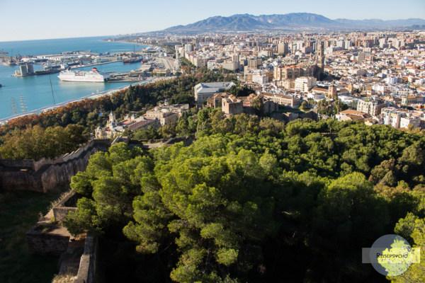 Blick vom Castillo de Gibralfaro in Malaga