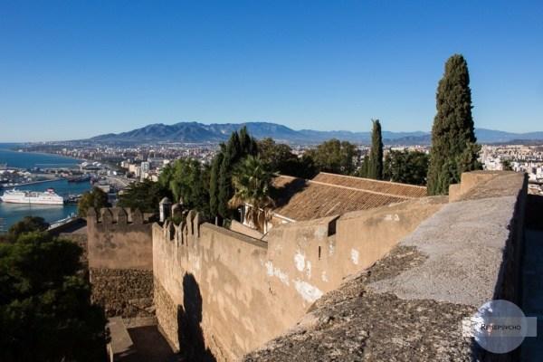 begehbare Mauern um das Castillo Gibralfaro