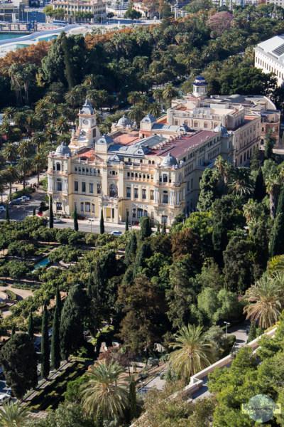 Das Rathaus von Malaga inmitten von Palmen