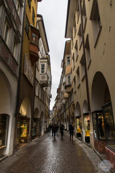 Laubengasse in Bozen in der Altstadt