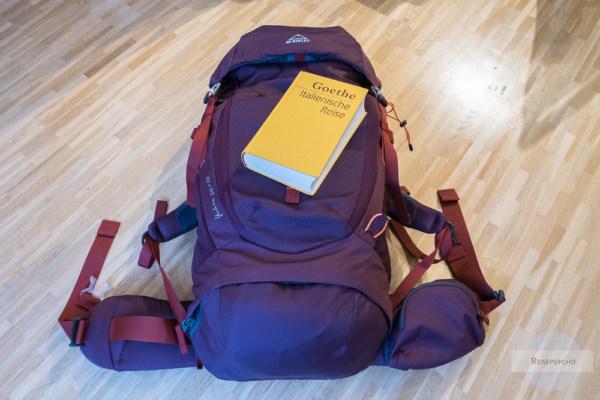 Rucksack gepackt für Goethes italienische Reise