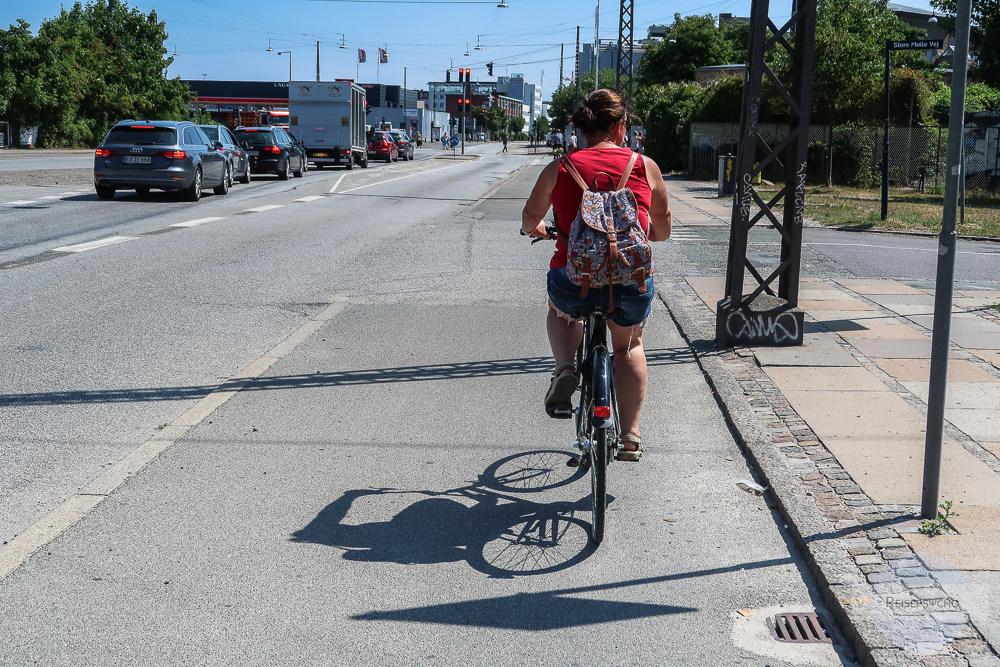 Radfahren auf Radwegen in Kopenhagen