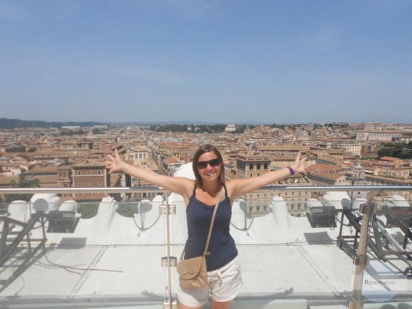 Am Dach des Altare della Patria in Rom
