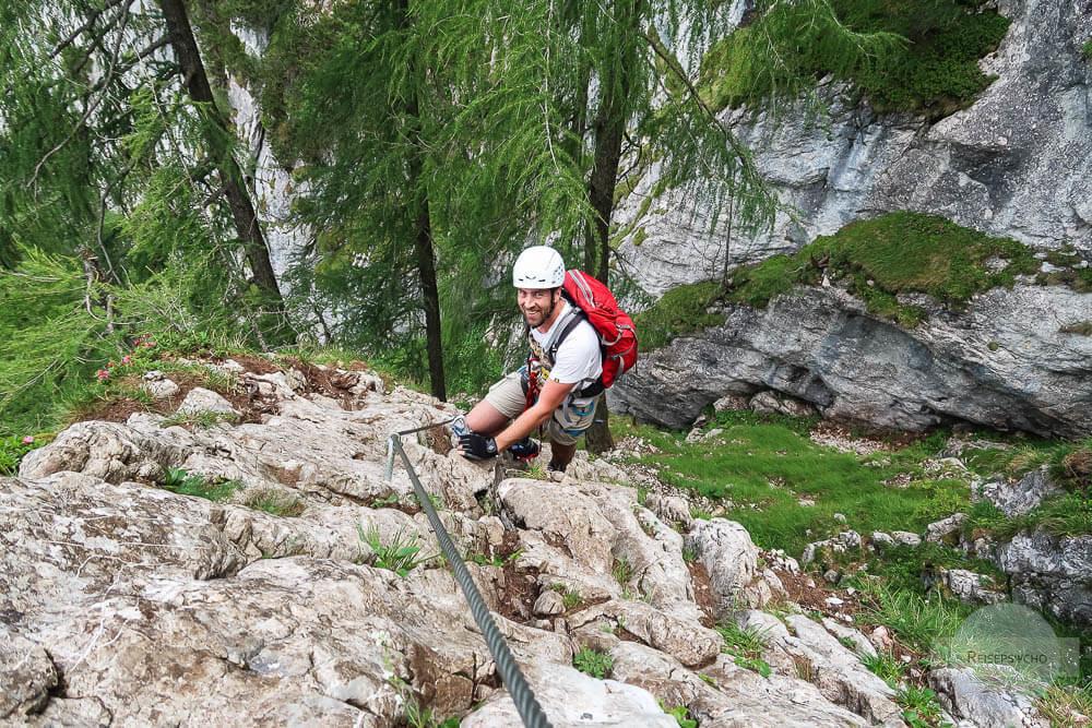 Klettern im Klettersteig nicht ohne Ausrüstung