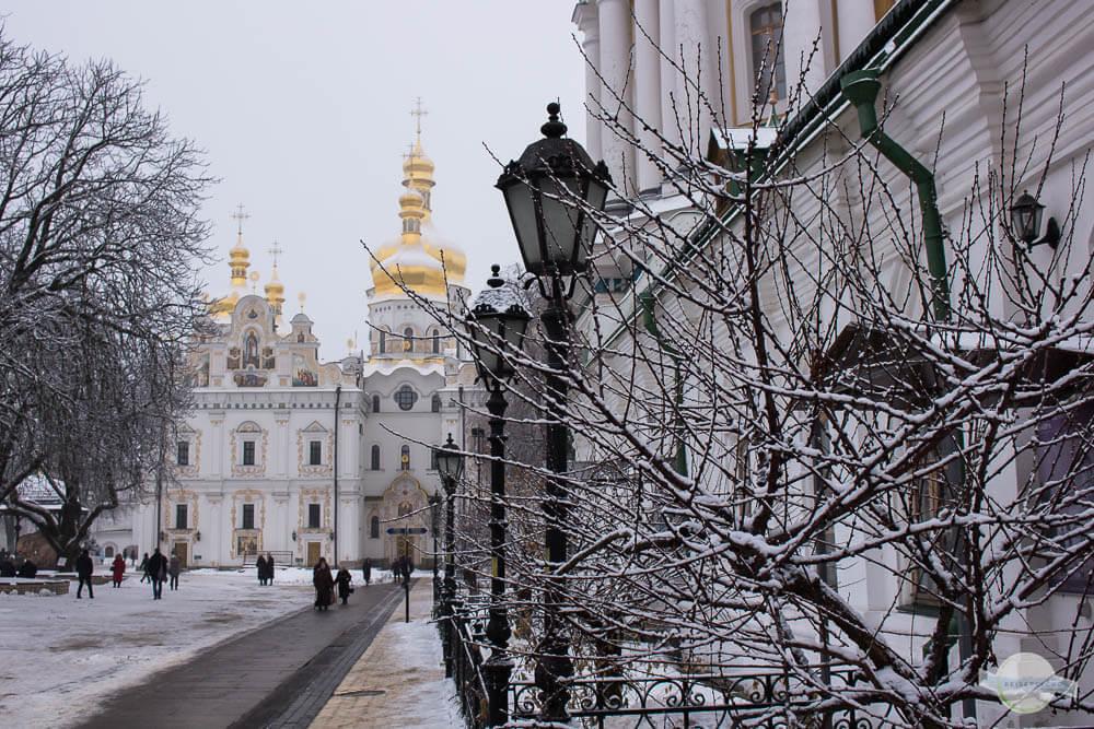 Kiew Silvester feiern bei Schnee und Winter
