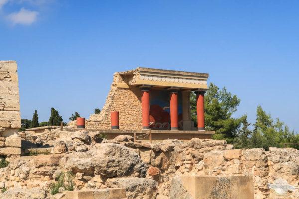 Fresko mit roten Säulen Knossos Kreta