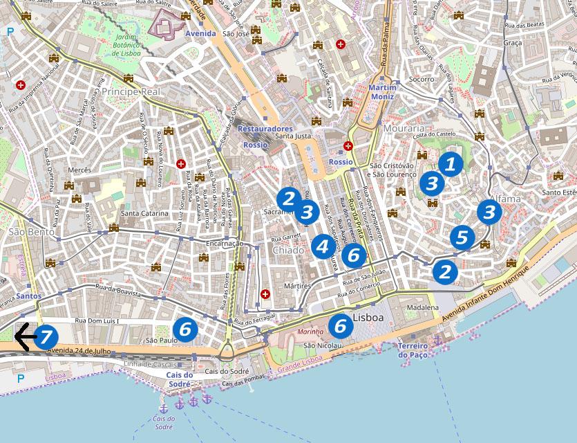 Lissabon Karte für Highlights an einem Tag