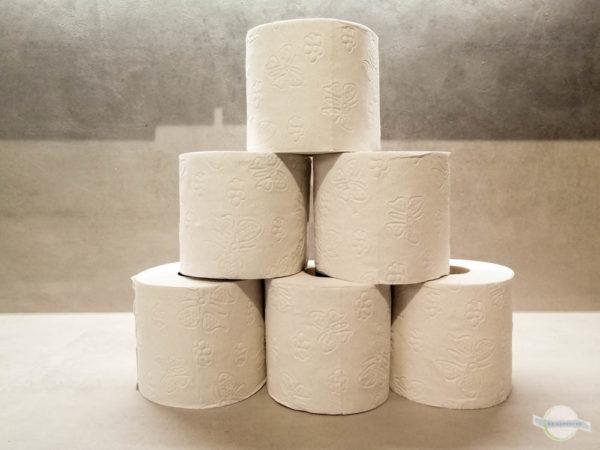 Toilettenpapier Rollen gestapelt