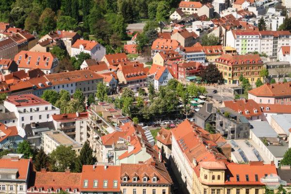Blick vom Schlossberg auf Lendplatz