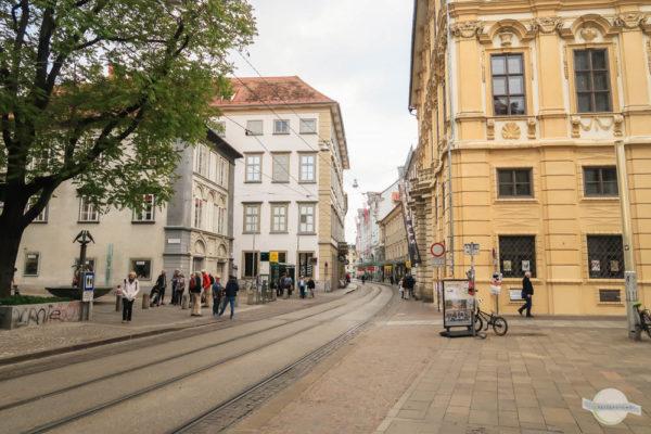 Straßenbahnschienen in der Sackstraße