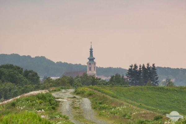 Ein Spaziergang am Hochwasserwall mit Blick auf die Kirchturmspitze
