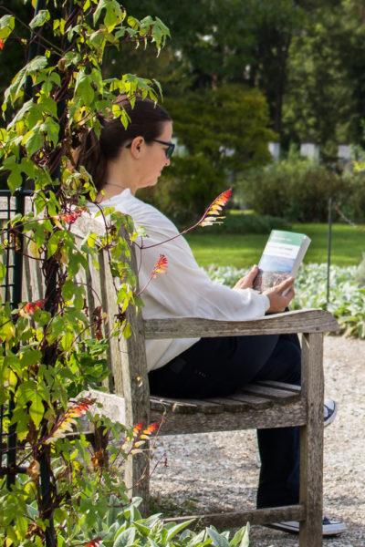 Lesen auf einer Parkbank