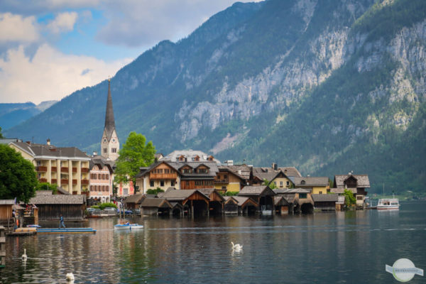 Hallstatt und See Dorfpanorama